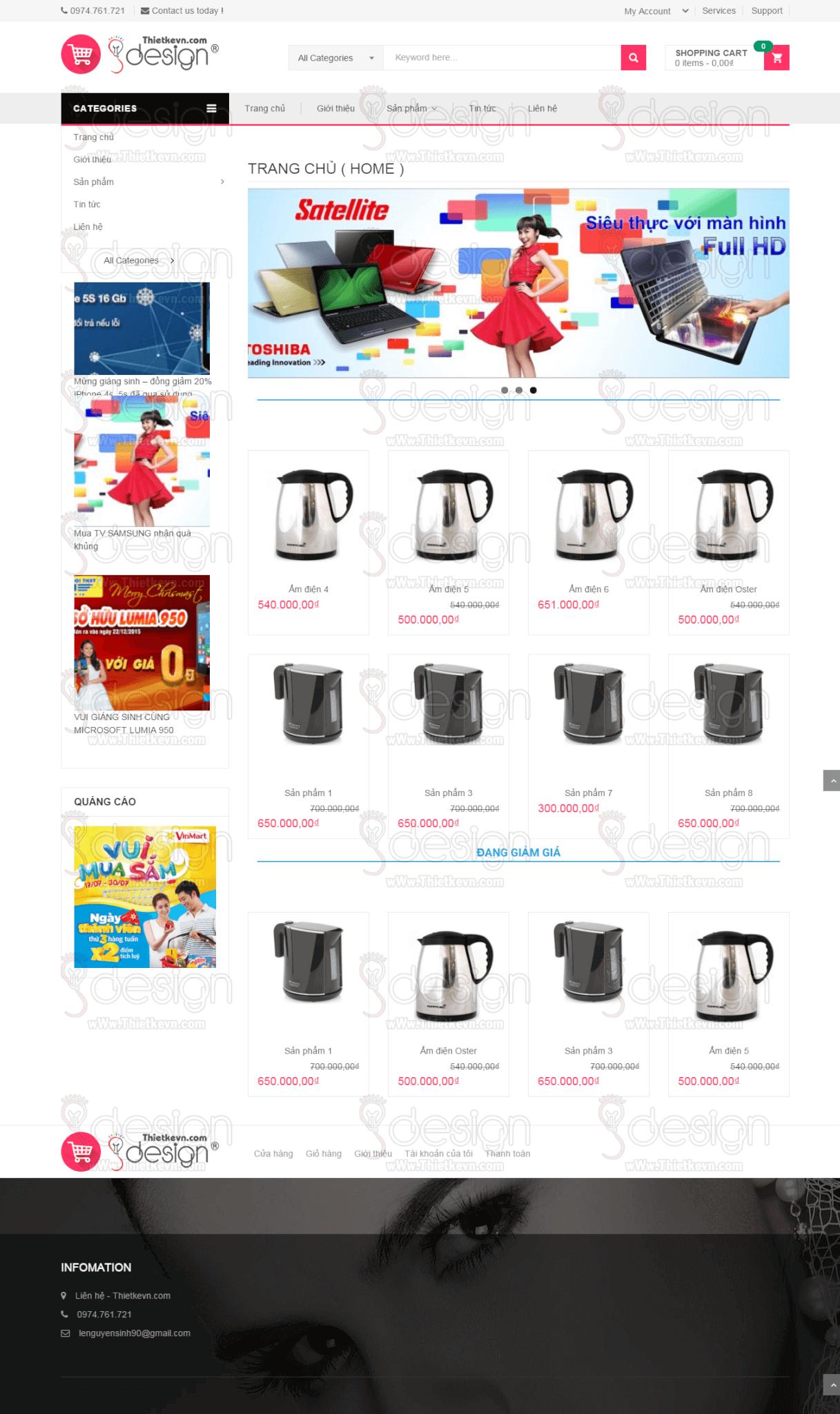 Thiết kế website bán hàng, shop giá rẻ - Trang chủ