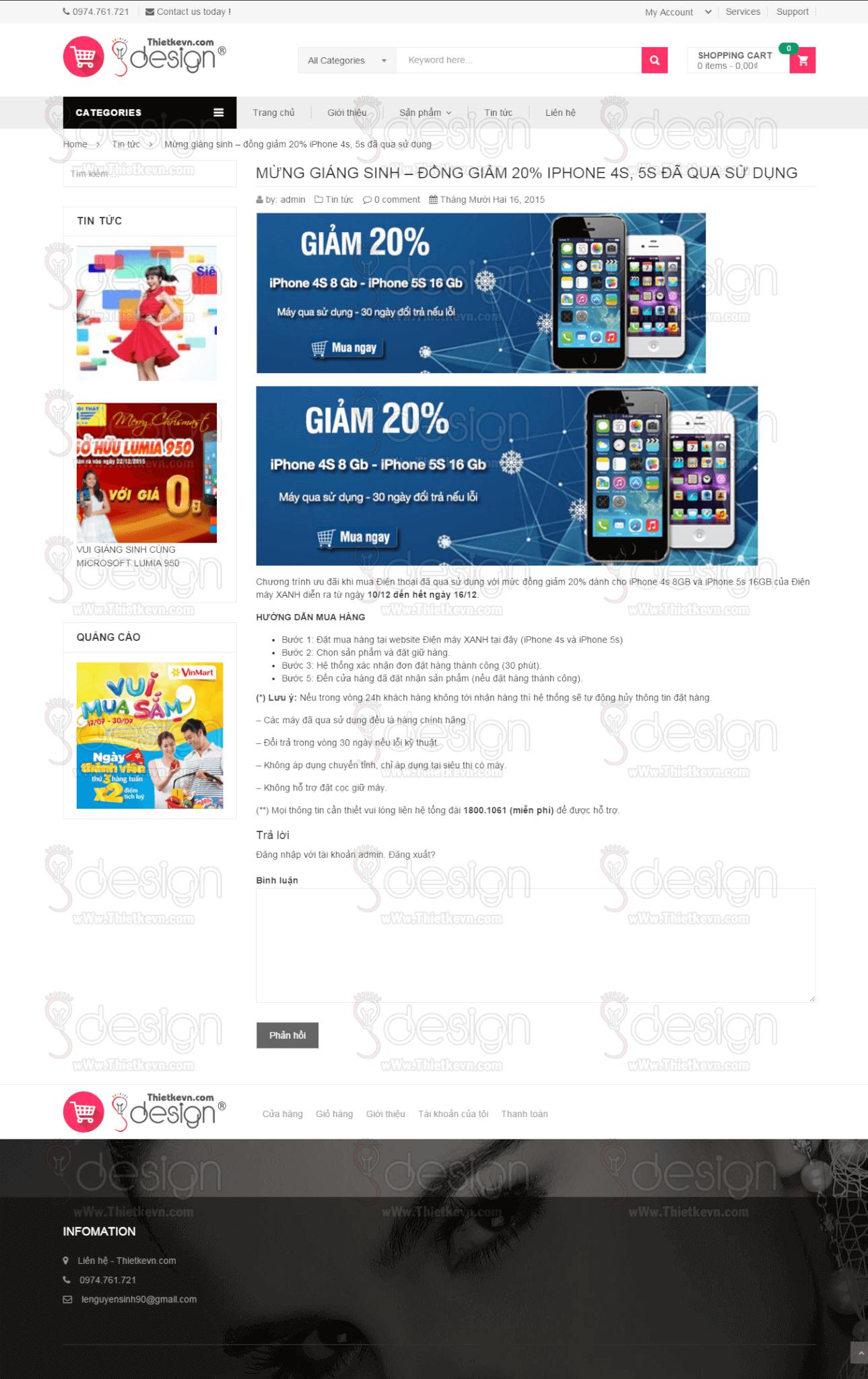 Thiết kế website bán hàng, shop giá rẻ - Trang tin tức