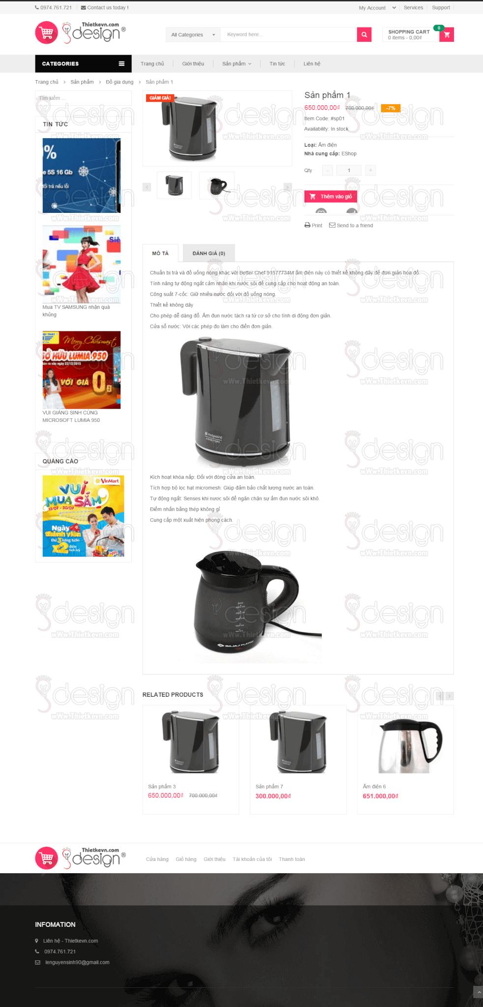 Thiết kế website bán hàng, shop giá rẻ - Trang xem sản phẩm