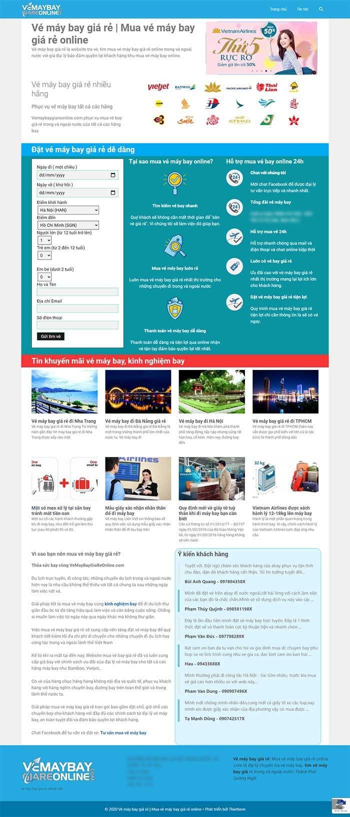 Trang chủ thiết kế website bán vé máy bay