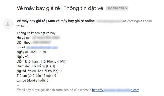 Thông tin khách hàng gửi đến gmail
