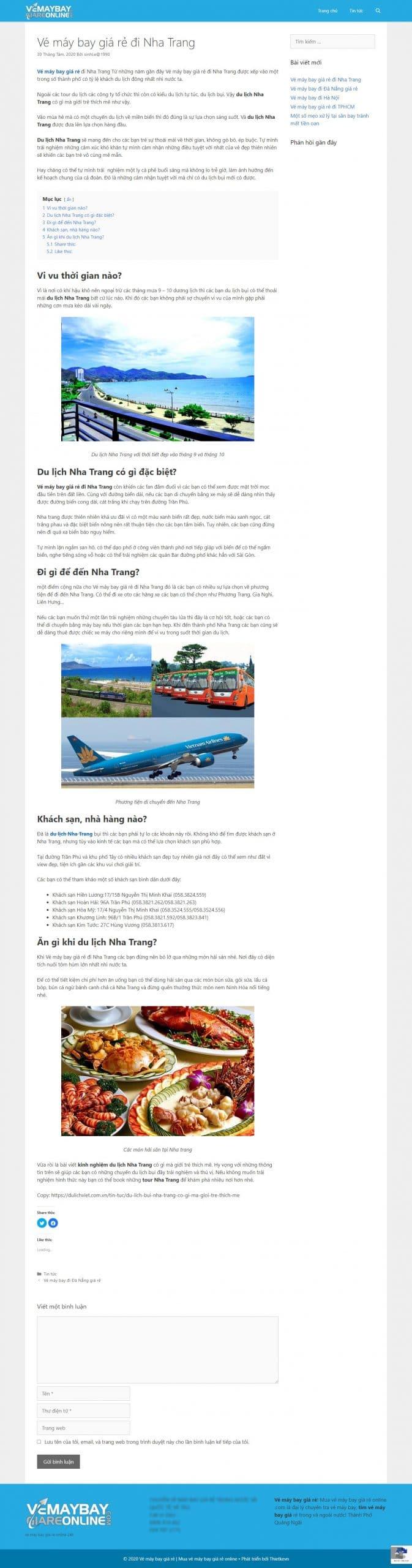trang tin tức thiết kế website bán vé máy bay
