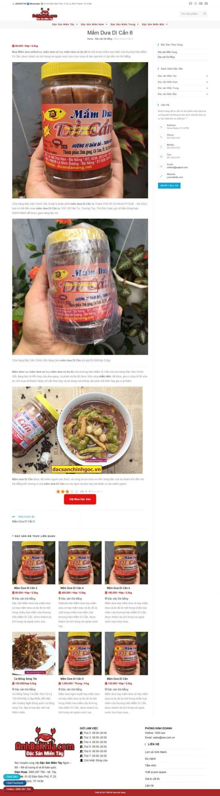 mô tả sản phẩm trên web