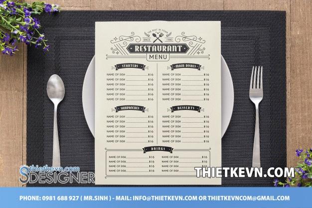 thiết kế menu bán hàng