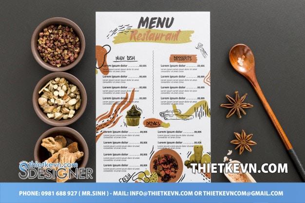 thiết kế menu đồ ăn