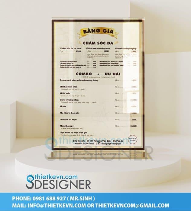 thiết kế menu mica để bàn