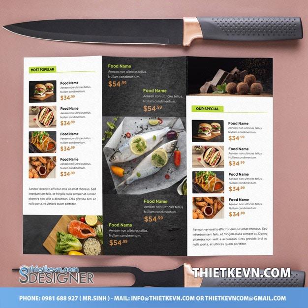 thiết kế menu quán ăn