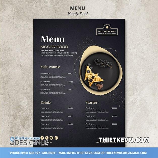 thiết kế menu quán cf