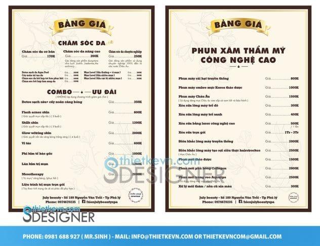 thiết kế menu spa A4