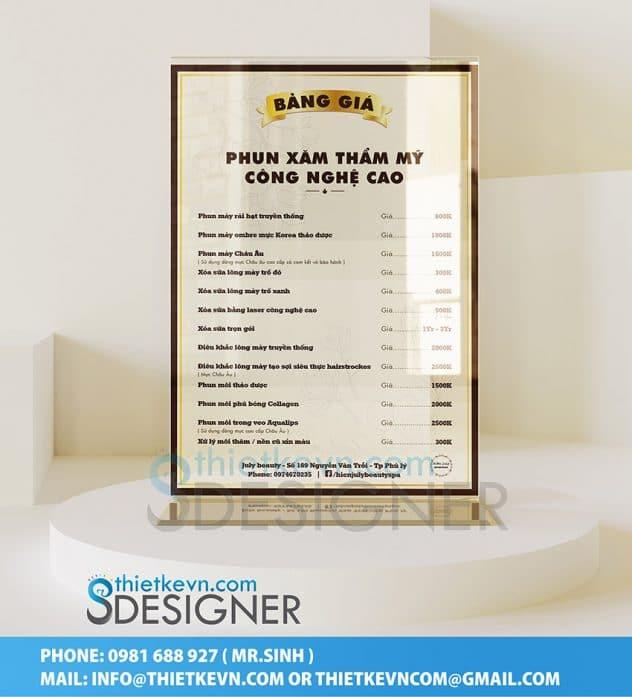 thiết kế menu spa để bàn
