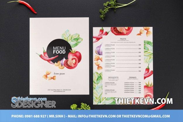 thiết kế menu thực phẩm